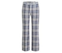 Karierte Cropped Pants aus Schurwolle