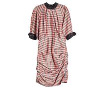 Kariertes Kleid aus Seiden-Ramie