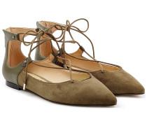 Geschnürte Ballerinas aus Veloursleder und Leder