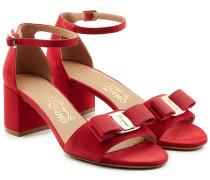 Sandalen aus Veloursleder mit Schleife