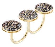 Knuckle Ring Life aus 18kt Gelbgold mit Saphiren
