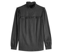 Gemusterte Jacquard-Bluse mit Rüschen