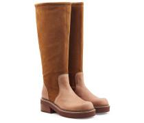 Kniehohe Stiefel aus Veloursleder und Leder