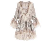 Print-Kleid aus Seide mit Spitze