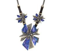 Halskette mit Leder und Kristallen