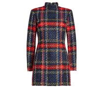 Kariertes Minikleid aus Tweed mit Stehkragen
