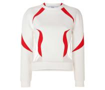 Neoprene Sweatshirt with Tulle Inserts in White/Vermilion