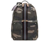 Camouflage-Rucksack aus Baumwolle mit Leder-Details