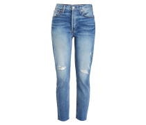 Straight Leg Jeans High Rise Ankle Crop