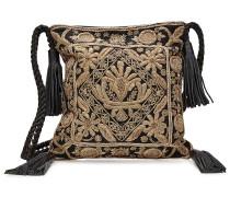 Bestickte Schultertasche aus Leder und Baumwolle