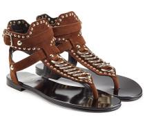 Veloursleder-Sandalen mit Metallic-Details