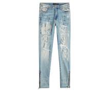 Bedruckte Skinny Jeans im Destroyed Look mit Zippern
