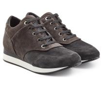 Veloursleder-Sneakers mit schmalem Wedge-Heel