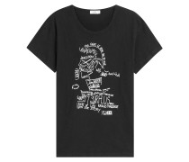 Print-Shirt aus Baumwolle und Leinen