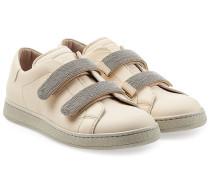 Leder-Sneakers mit Schmuck-Klettverschlüssen