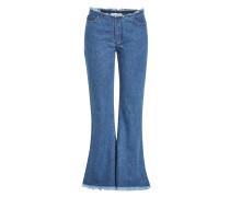Cropped Flared Jeans mit ausgefranstem Saum