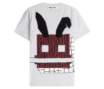 Baumwoll-Shirt mit Print und Applikation