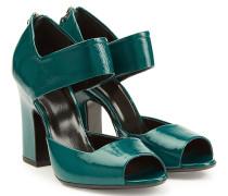 Block-Heel-Sandalen aus Lackleder