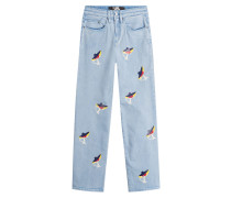 Cropped-Flared-Jeans mit Choupette-Print