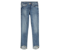 Cropped-Skinny-Jeans mit Fransensaum