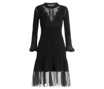 Kleid aus Schurwolle mit Chiffon und Spitze