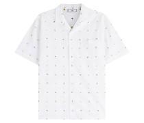 Besticktes Kurzarmhemd aus Baumwolle