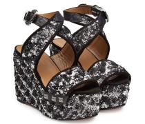 Plateau-Sandalen aus Leder mit Pailletten