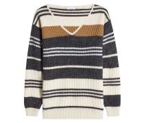 Gestreifter Pullover aus Wolle, Kaschmir und Seide