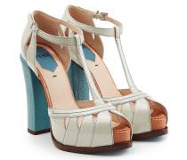 Block-Heel-Sandalen aus Leder