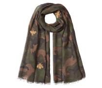 Bestickter Camouflage-Schal mit Kaschmir und Seide