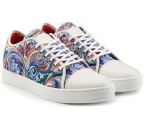 Bedruckte Sneakers mit Leder