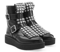 Ankle Boots aus Leder im Creepers-Look