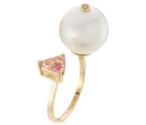 Ring aus 18kt Gelbgold mit Diamant, Perle und Topas