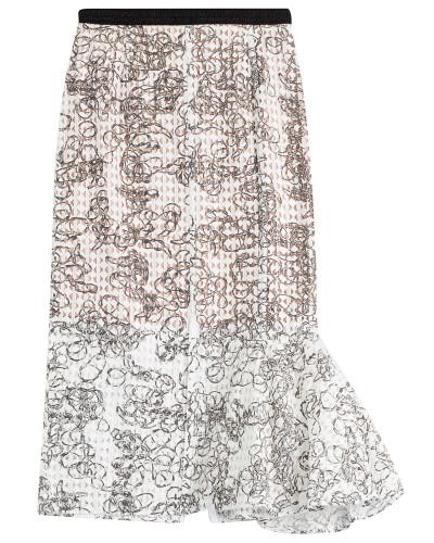 Midi-Skirt aus Lochstrick mit Print