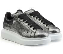 Leder-Sneakers mit Glitter-Finish