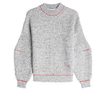 Pullover aus Baumwolle und Wolle mit Ballonärmeln