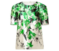 Silk-Cotton Sculpted Shoulder Top in Green/White