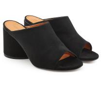 Open Toe Mules Caren aus Veloursleder mit Block Heel