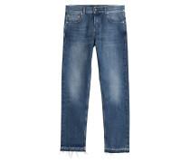 Cropped Jeans mit Fransen
