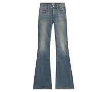 Flared-Jeans aus Baumwolle mit Distressed-Effekten