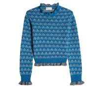 Gemusterter Pullover aus Wolle mit Rüschen
