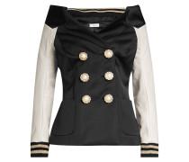 Jacke mit Bardot-Ausschnitt und Lederärmeln