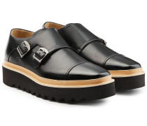 Monkstraps in Leder-Optik mit Plateausohle