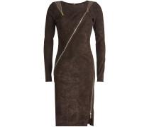 Kleid aus Velours-Lammleder mit Zippern