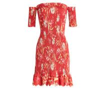 Bedrucktes Off-Shoulder-Kleid Corsair Smocked aus Leinen und Baumwolle