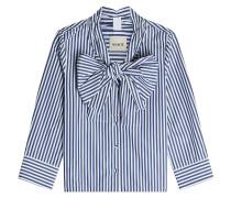 Gestreifte Bluse Natalie aus Baumwolle mit Schleife