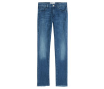Cropped-Pants Oyster aus Baumwoll-Stretch
