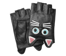 Fingerlose Leder-Handschuhe mit Décor