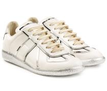 Leder-Sneakers mit Metallic-Paspeln