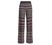 Gemusterte Wide Leg Pants aus Wolle